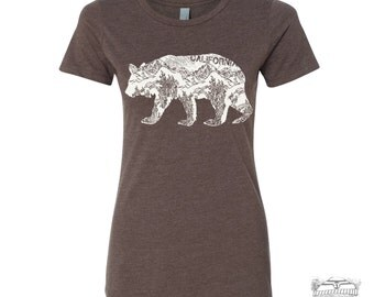 Womens California BEAR T-Shirt -hand screen printed s m l xl xxl (+ Colors Available)
