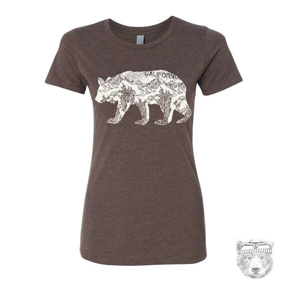 Womens California BEAR T-Shirt -hand screen printed s m l xl xxl (+ Colors Available)