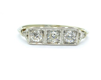 1920s Art Deco engagement ring Antique 18ct white gold Milgrain three stone diamond Trilogy Unique Square setting Anniversary*FREE Ship