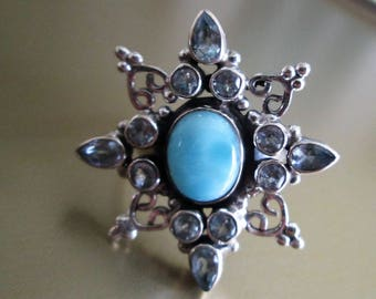 RING  - LARIMAR - Dominican Republic - Blue TOPAZ -  Ornate Snowflake  - Star - 925 - Sterling Silver  - size 8   blue 474