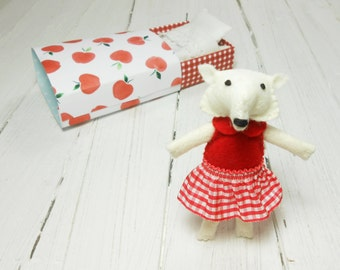 White wool felt artic fox enchanted forest fairy miniature animal stuffed fox matchbox doll kids gift under 25 red apple stuffed animal
