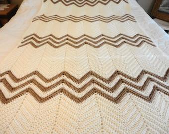 Crochet Afghan Blanket Throw Chevron 96X56 Creme and Milk Chocolate Brown Weaves Handmade in the 80's