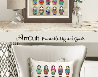 Digital Sheets Printable download BABUSHKAS, 2 Images to print on fabric or paper, Iron On Transfer for tote bags t-shirts pillows Art Cult