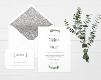 The 'Camilla' Romantic Garden Greenery Wedding Invitation Suite (Sample)