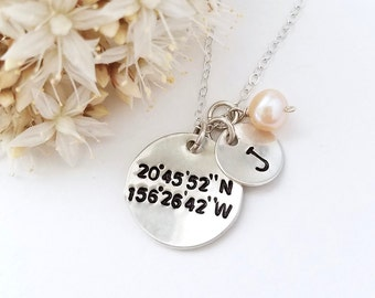 Coordinate necklace with monogram initial - Latitude Longitude necklace, Coordinates jewelry by Tidepools, geocaching, custom coordinates