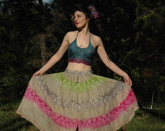 Plus Size... Indian Boho Hippie Skirt... Floaty Fairy Silk Skirt