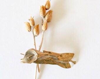 brass calla lily barette