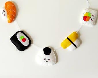 Sushi Felt Garland, kawaii wall hanging, fun felt bunting, kitsch nursery decor, cute home decoration, felt japanese food banner, sushi gift