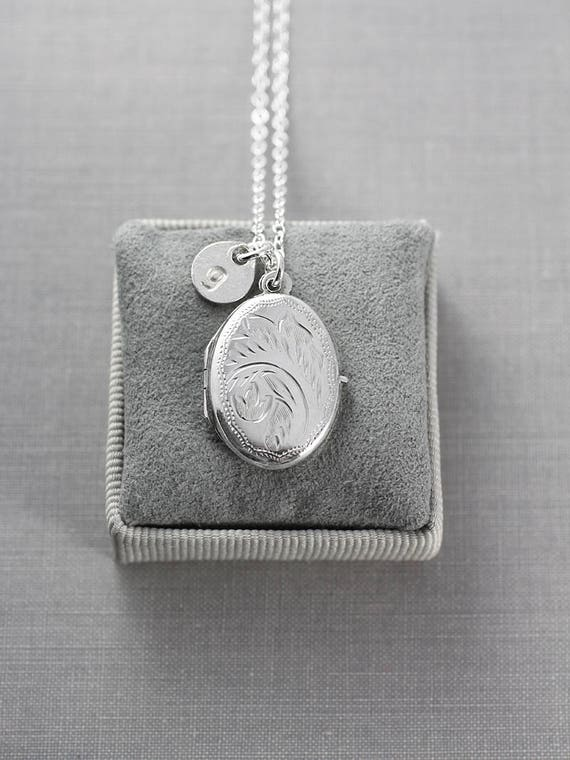 Custom Initial Locket Necklace, Vintage Sterling Silver Small Oval Photo Pendant - Lotus Flower