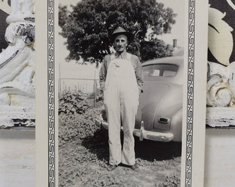 Man In Overalls Posing with Antique Automobile-1930s-Black and White Snapshot-Vintage Car Photograph