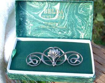 Art Nouveau Sterling Silver Brooch Original Box Belda Jewellery Czech Republic Vintage