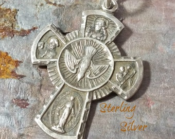 Vintage Sterling Silver Medal Religious Catholic Cross Sterling Silver Pendant AFCO Sterling Dove Saints Mary Jesus Nice Detail New RingBale