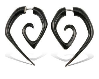 Fake Gauges, Fake Plugs, Handmade Earrings, Tribal Style, Gypsy - Small Angled Spirals Horn