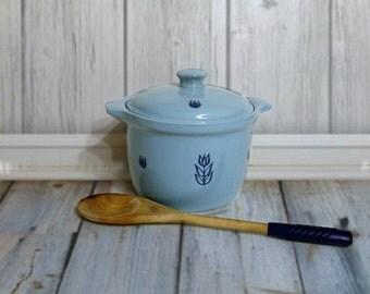 Cronin Blue Tulip Crock - Bean Pot with Lid - Vintage Aqua Flower Pottery - 1950s Kitchen - Vintage Kitchen Decor
