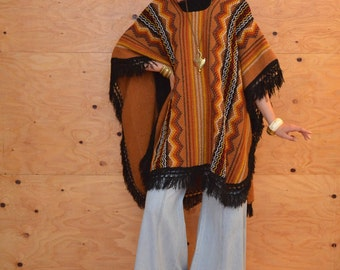 Vintage 70's Winter Knit Poncho In Black & BrownWith Fringe At Hem One Size