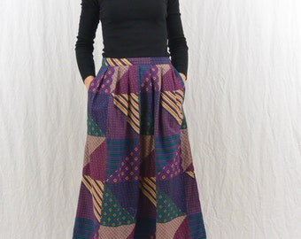 Vintage Patched Midi Skirt, Size XS-Small, High Waisted Skirt, Mori Girl, Forest Girl, Natural Kei, Unique, Quirky, Hippie, Hipster