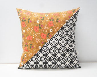 Patchwork Pillow Cover, 20x20, Black and cream / floral