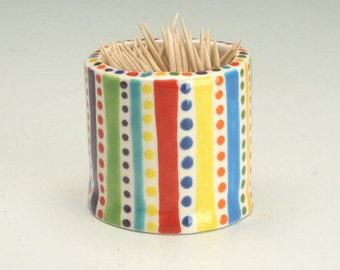 Toothpick Holder, Ceramic Tooth Pick Holder, Small Bud Vase, Hand Built Pottery, Tooth Pick Dispenser, Stripes and Dots, Handmade Gifts