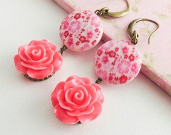 Pink flower earrings, dangle rose earrings, romantic floral earrings, gift for her, pink jewelry