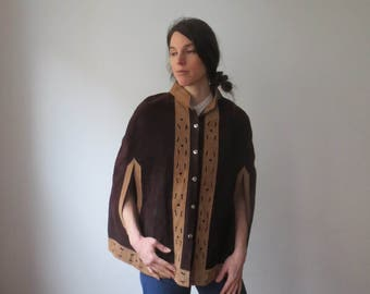 Vintage '60s/'70s Heavy Suede Cape, 2-Tone, Cut-Out Poncho in Dark Brown & Caramel