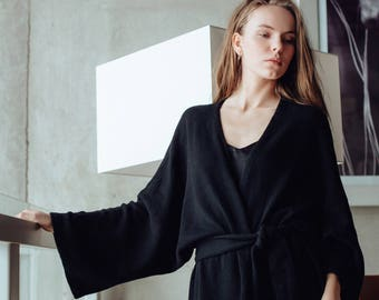 Long Black Kimono Robe Cardigan. Lambswool Dressing Gown. Women's Cardigan. Kimono Robe. Knitted Cardigan.