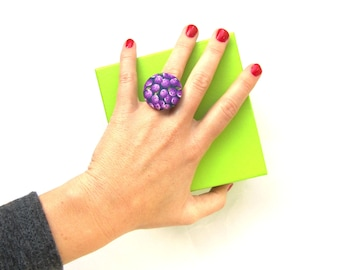 SALE Purple statement ring - large fabric ring - big button ring - blueberry - adjustable round ring - fruit ring