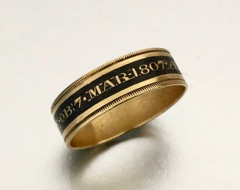 Georgian 22K Carat Gold Champleve Enamel Mourning Ring. English Antique Memento Mori Band. Size 10. Engraved Philippa Crabtree Died 1807