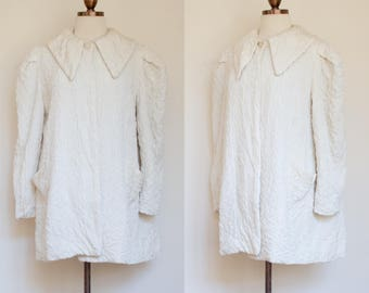 vintage 1940s ivory quilted evening jacket / 40s 50s off white swing coat with pockets / M - L