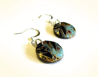Blue Earrings Round wood disk dangle earrings in blue brown and gold
