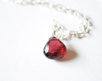 Garnet Necklace, January Birthstone Pendant on Silver Chain