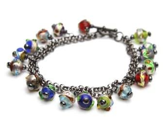 Venetian Murano Glass Charm Bracelet with Assorted Colors and Genuine Hematite