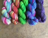 Wizard Candy Mini Sock Yarn Skeins - 25 yds each