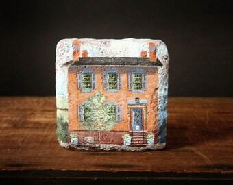 Brick house, Pittsford, NY painting on brick Maribel Maxon, 25 S. Main St. Pittsford, Brick bookend