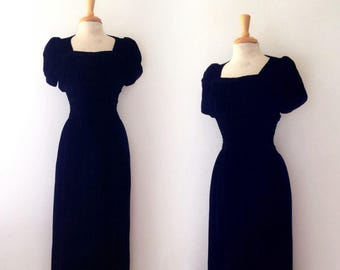 1930s long black velvet evening gown with ruched bodice, size s/m