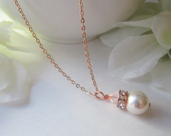 Rose Gold Necklace, Pearl Necklace, Pearl Necklace Rose Gold, Bridal Necklace, Bridesmaid Necklace,Swarovski Pearl Necklace Pink Gold,Adora
