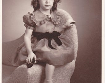 Little Darling- 1940s Vintage Photograph- Cute Little Girl- Ringlets Hair- Studio Portrait- Found Photo- Paper Ephemera