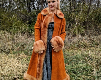 Vintage 70s 1970s Almost Famous Penny Lane suede leather sheep sherpa rust shearling fur maxi long coat jacket bohemian hippie