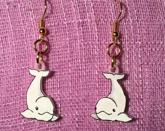 Beluga whale earrings