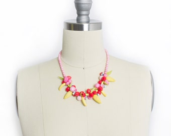 Vintage 1940s Necklace - Early Plastic NOVELTY Fruit Salad Beaded Colorful - 1930s