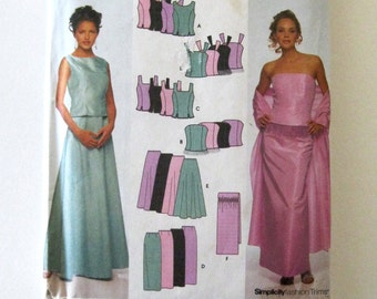 2000s Evening Dress Pattern, Simplicity 9466 Womens Strapless or Shoulder Straps Top & Maxi Skirt Sewing Pattern Size 14-20 Bust 36-42 UNCUT