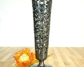 Vintage Apollo Silver Company Filigree Bud Vase with Glass Insert Quadruple Plated Metal Pattern 838