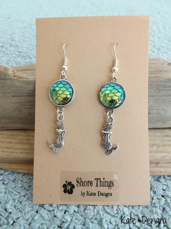 Iridescent Green Mermaid Scale Dangle Earrings Ear Wire Fish Scale Shore Things by Kate Dengra Spain Beach Ocean Theme