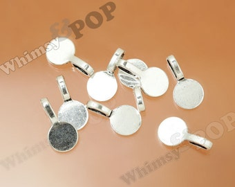 Round Silver Color Glue On Flat Pad Bails, Bail Finding, Round Pad Bails, 10mm Pad, 18mm x 10mm (R9-057)