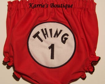 Thing 1 Diaper Cover / Red Bloomer / Dr Suess / Thing 2 3 4  / Birthday/ Newborn / Infant / Baby / Girl / Toddler / Custom Boutique Clothing