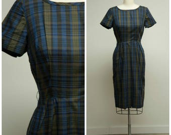 Vintage 1950s Dress • Fanciful Fate • Blue Moss Green Plaid Cotton 50s Sheath Dress Size Medium