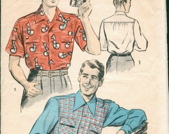 Super Vintage 1950s Advance 3968 Men's Long Sleeve or Short Sleeve Shirt Sewing Pattern Sz Small