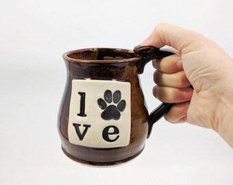 Dog Paw Mug, Brown, Love Coffee Mug, Ready to Ship