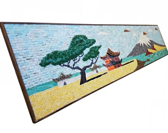 LARGE Mid Century Mosaic Art of Mt. Fuji Japan - Evelyn Ackerman