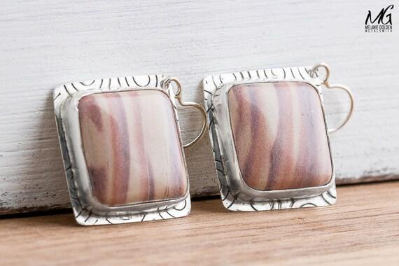 Light Pink Australian Print Stone Earrings