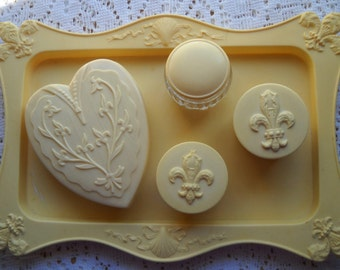 Vintage Vanity Set, Celluloid Dresser Set, Antique Cream 5 Piece Tray and Container Set, Art Deco Boudoir Vanity Set
